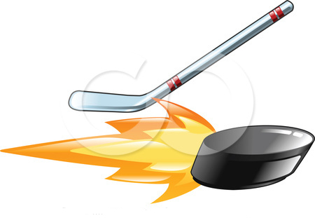 34519 Clipart Illustration Of A Hockey Stick Hitting A Flaming Hockey Puck