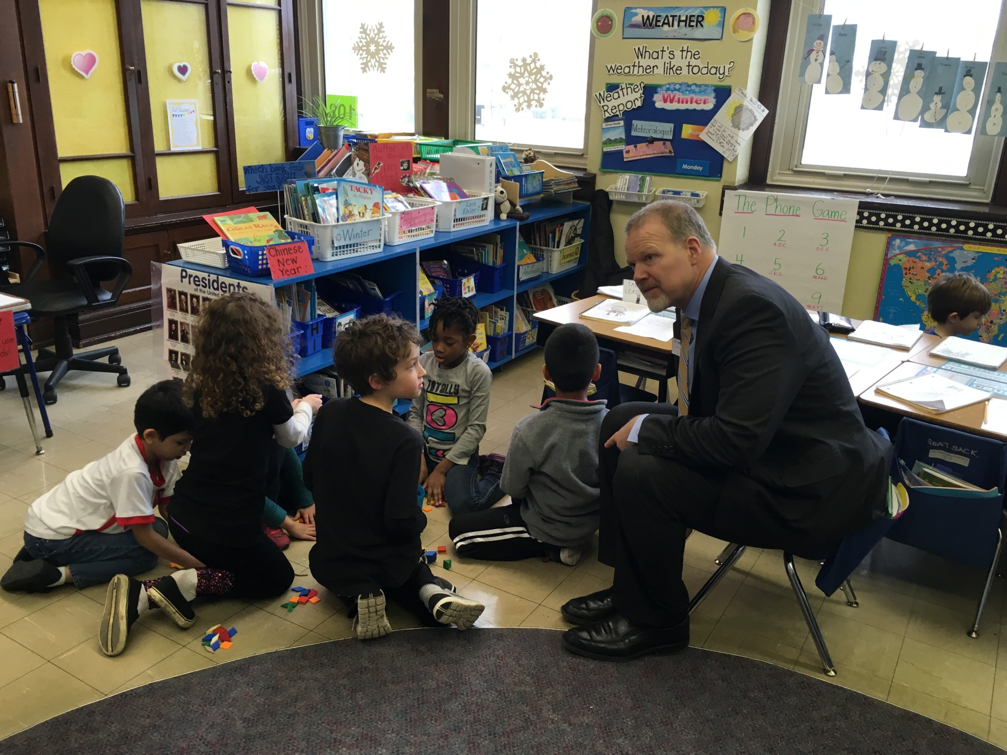 Dr. Smith Talking To Some Of Our 1st Graders.